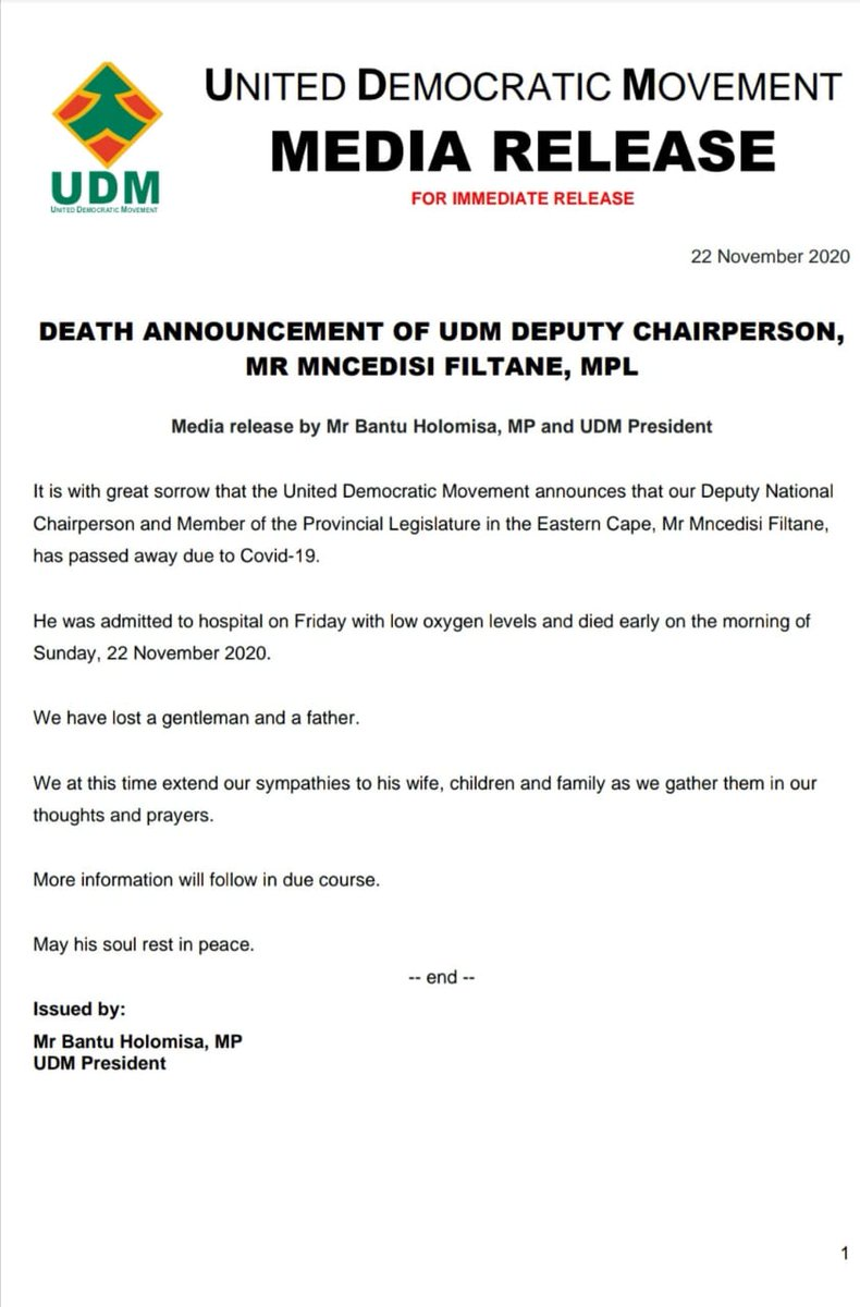 UDM Deputy Chairperson & MPL in the Eastern Cape Mncedisi Filtane has died due to Covid-19. @IOL @TheCapeArgus https://t.co/1624BUqv53