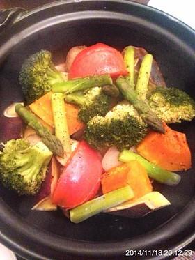 土鍋タジン風でホクホク温野菜サラダ
