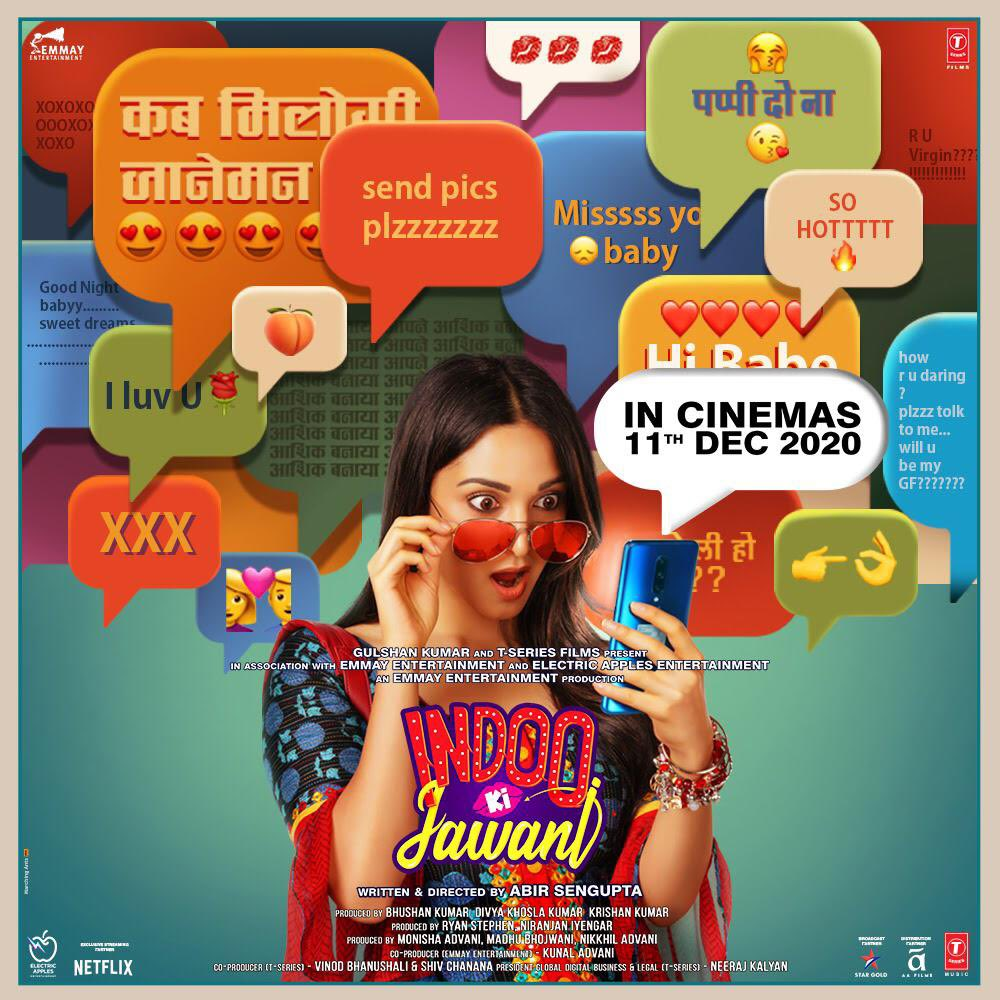 #IndooKiJawani sets a date to release in cinema - starring #KiaraAdvani with #AdityaSeal and #MallikaDua on 11 Dec 2020... Directed by #AbirSengupta. See you at the closest #MuktaA2 cinemas very soon!   @adityaseal @kiaraaliaadvani #aafilms @tseries #muktaa2updates