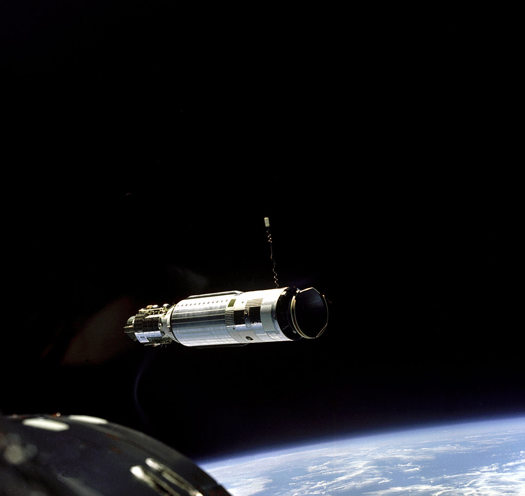 Photo taken by Neil Armstrong shortly before the first-ever space docking (with the Agena target vehicle).