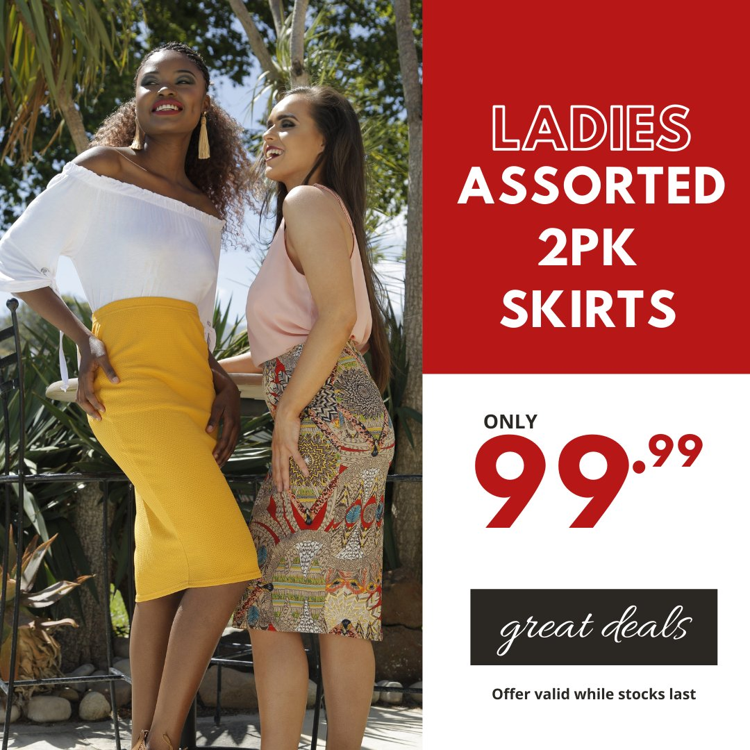Two is always better than one... Ladies 2pk Skirts only 99.99 available in assorted colour and prints #choiceclothing #wearchoice #ladies #skirts