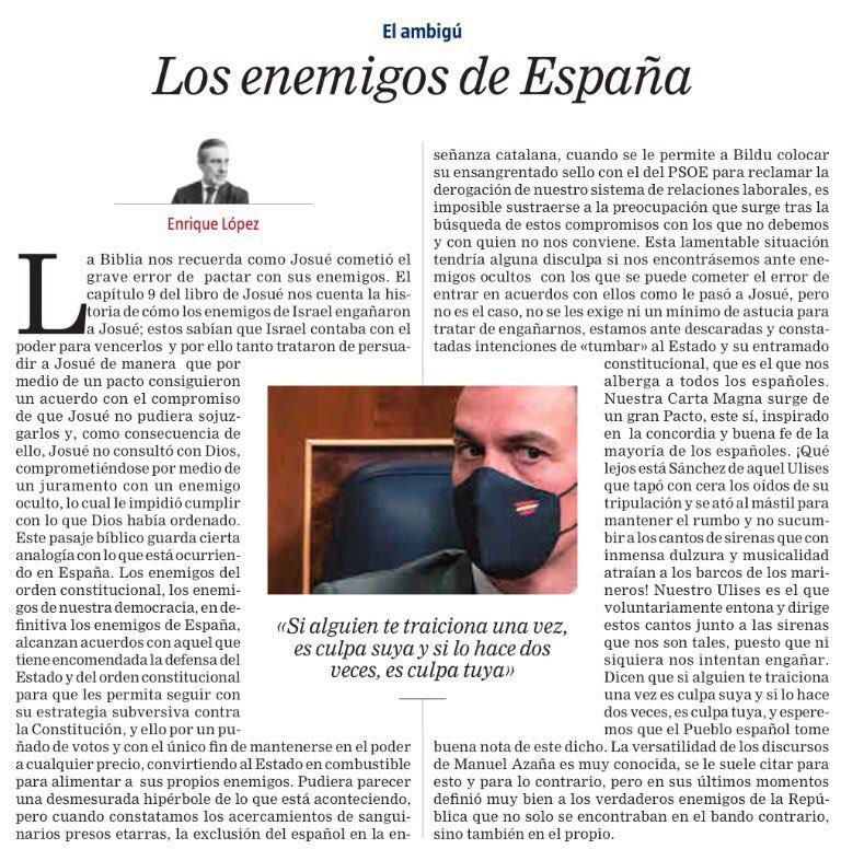 """""""Los enemigos de España"""" El ambigú - @larazon_es https://t.co/3hXmk8ealn"""