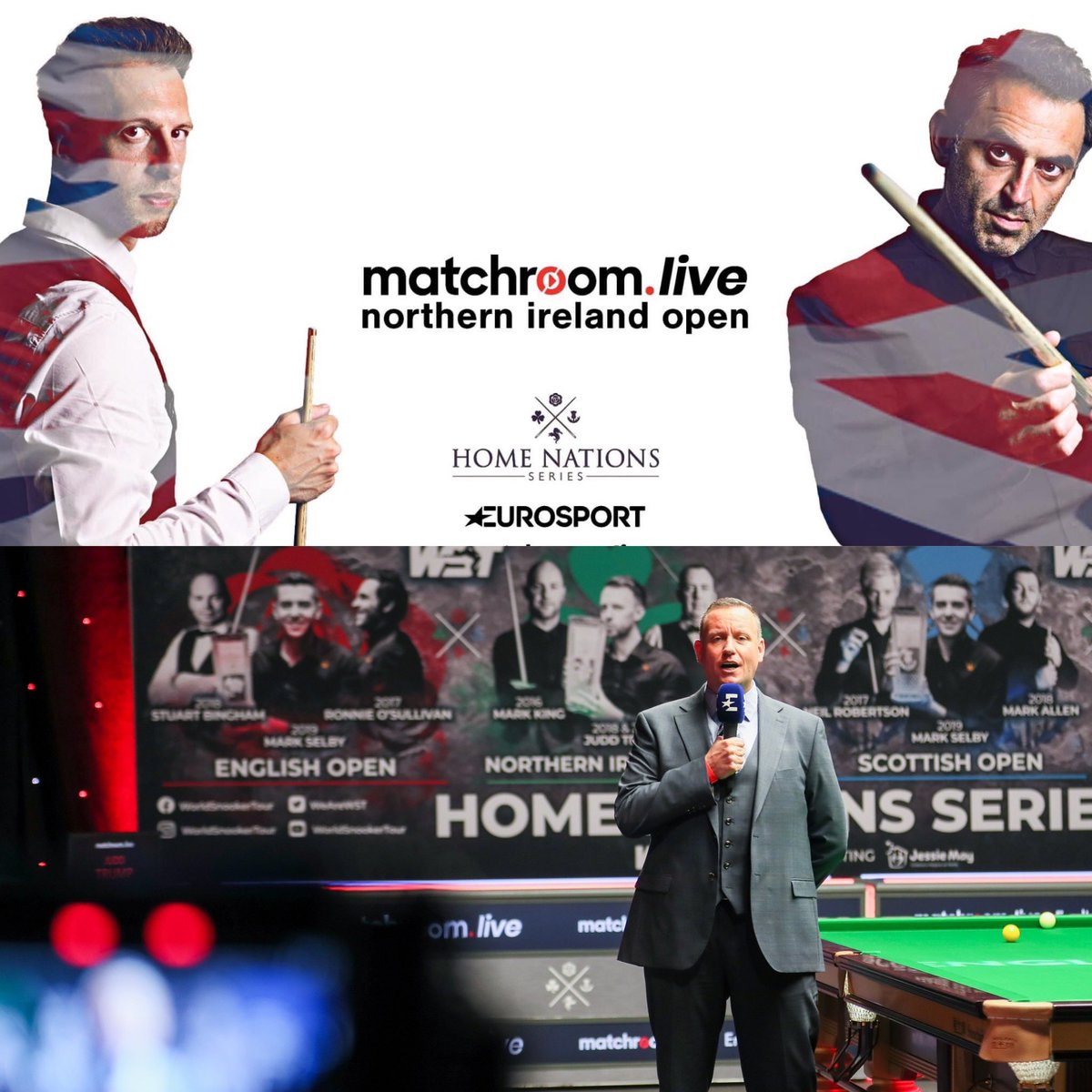 #Snooker doesn't get much bigger than @ronnieo147 v @judd147t , world champion v world no.1. The final of the @matchroomsport Live Northern Ireland Open begins on @Eurosport_UK and @QuestTV at 12.45pm, and I can't wait! #HomeNations #NIOpen