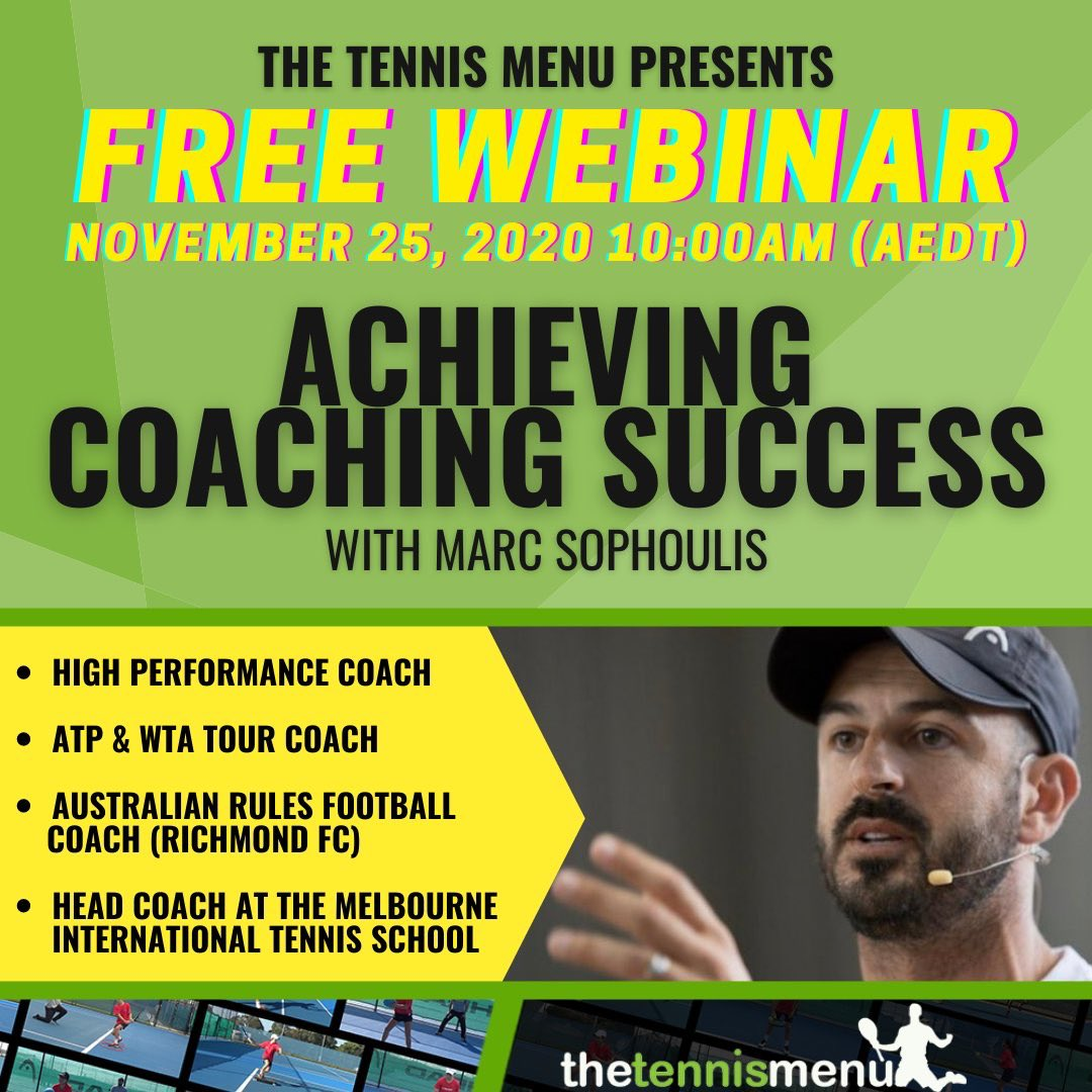 FREE WEBINAR: https://t.co/zPG22H5siC  WEDNESDAY NOVEMBER 25th, If you can't make it but still sign up you will receive a recording of the session.   #coach #tennis #football #sport @mitschool @thetennismenu https://t.co/TEvlDUhAzN