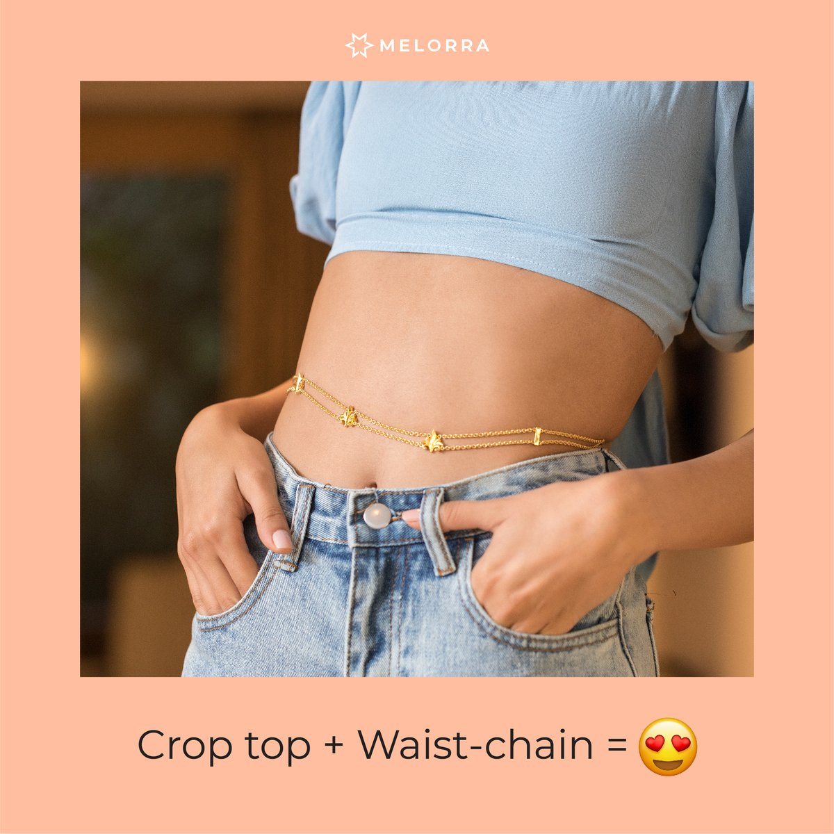 #𝐒𝐭𝐲𝐥𝐞𝐓𝐢𝐩: Slip into a pair of jeans, team it up with a cute crop top and flaunt your mid-riff with a waist chain. We're not kidding, waist chains are a super rage this season and is a must. Shop Novel Clique Wasit Chain >   #Melorra #FineJewellery