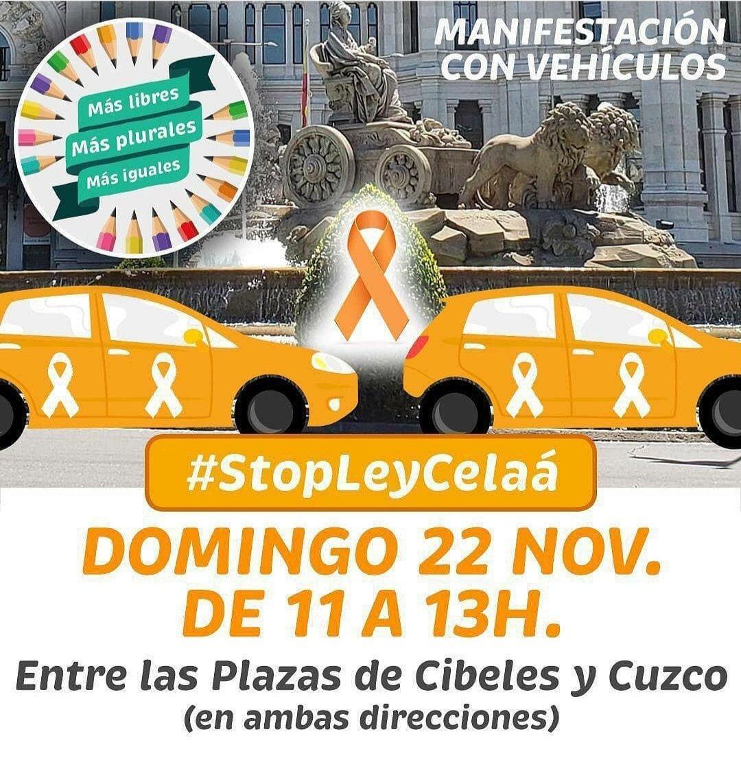 Hoy estamos con los madrileños que se manifiestan para defender la libertad educativa en España.  ➡️ Recogeremos firmas de 12 a 14 en San Lesmes. #StopLeyCelaá  ¡Te esperamos! https://t.co/7ZLFMJGplM