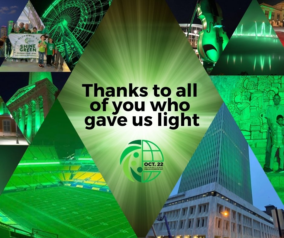 🟢 Today, one month after International Phelan-McDermid Day, we want to thank all the countries that lit up green to give visibility to this disease 💚  #shinegreen #brilaporphelan #22q13 #phelanlucky #phelanmcdermid #phelanmcdermidsyndrome