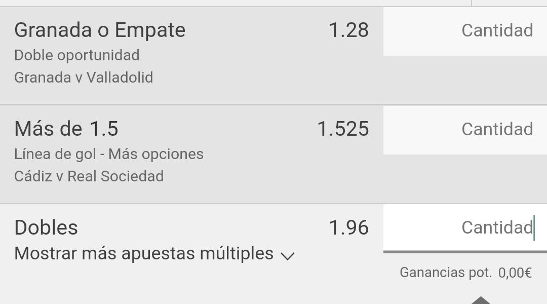Buenos días , hoy nos dejamos unos céntimos con combi a dos partidos de la primera división de España. Granada VS Valladolid al 1X ,  y más de 1 gol en el Cádiz VS Real Sociedad. Cuota 1.96 y  Stake 1. Recordar apostar con responsabilidad y para divertirse. #FelizDomingo #LaLiga https://t.co/PAVsY2k03n