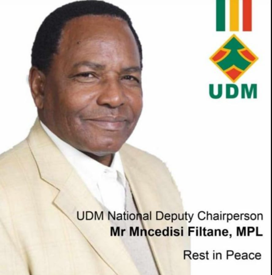 We're deeply saddened by the passing of the UDM Deputy Chairperson & MPL, Tatu-Mncedisi Filtane.   May his soul rest in peace.🙌 https://t.co/oPp7pYaS61