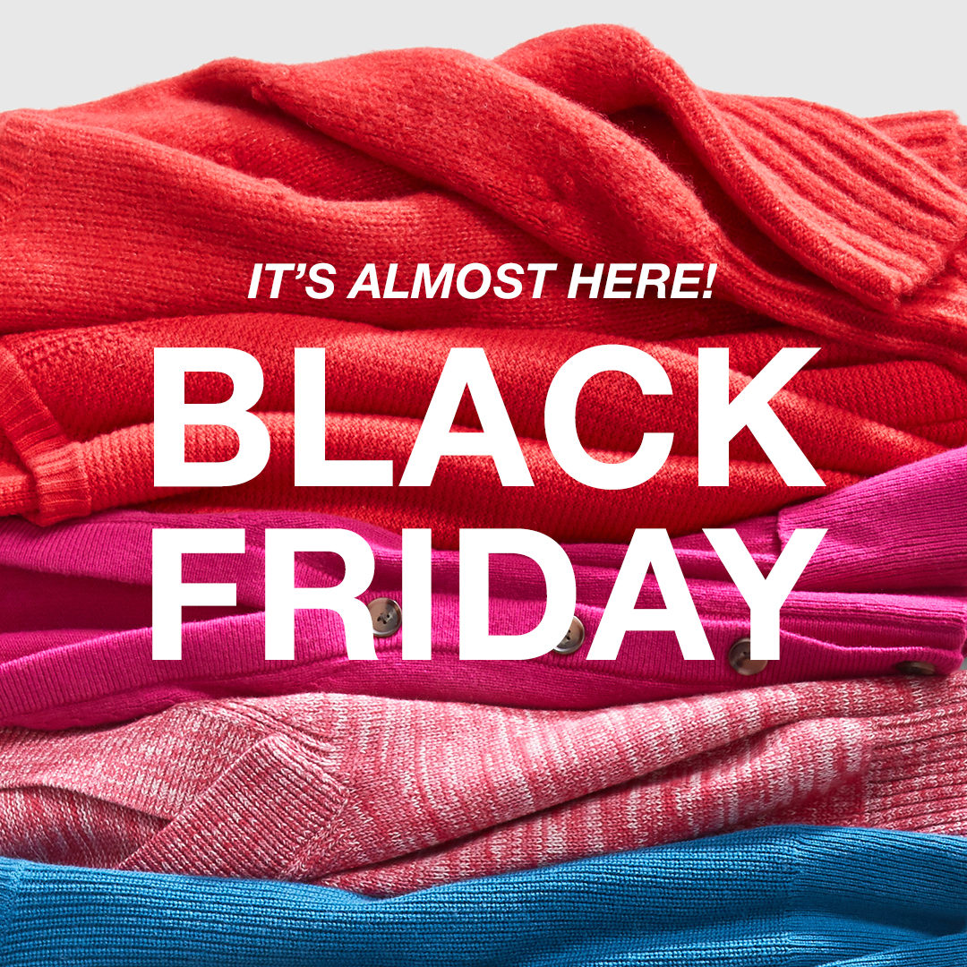 BLACK FRIDAY IS ALMOST HERE!   APP EXCLUSIVE: Shop 11/22 (one day early!) and get EARLY ACCESS on 50% OFF EVERYTHING! Can't wait? We've got Really Big Deals AKA doorbusters on our best stuff from cozy extrasto jeans and tees online now: https://t.co/G8iXA1zkJS. https://t.co/a1v8GcpN6p