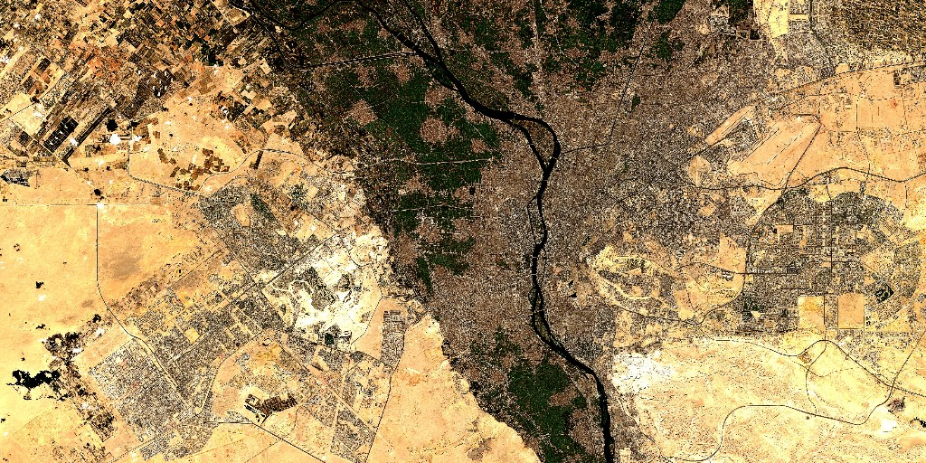 Cairo is the capital city of Egypt 🇪🇬, with a population of 20 million people.   At the bottom you can also see the nearby city of Giza, home to the synonymous pyramids of Giza.