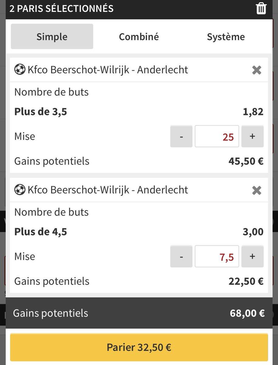 1/ BET foot ⚽️   🇧🇪   Beerschot vs Anderlecht   + de 3,5 buts 1.82  2,5U   + de 4,5 but 3.00  1U   #TeamParieur   L'équipe qui marque et encaisse le plus de but affronte les 1er du championnat, et je vois du but !  Le + de 3,5 8/8 dans les derniers matchs, + de 4,5 7/8 ! https://t.co/ZsTy88WEha
