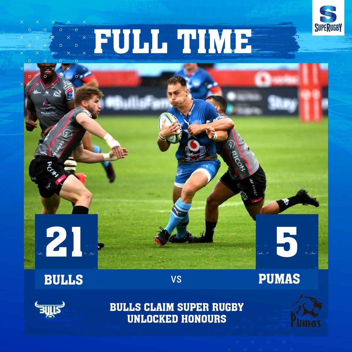 #SuperRugbyUnlocked / #Round7  #Bulls vs #Pumas  21-5 #Bulls confirmó su título de Super Rugby Unlocked el sábado, demostrando ser demasiado fuerte para el #StevalPumas en Pretoria.  #BULvPUM #LoftusVersfeldStadium #SuperRugby #SuperRugby25years https://t.co/a0r4BHaVrZ