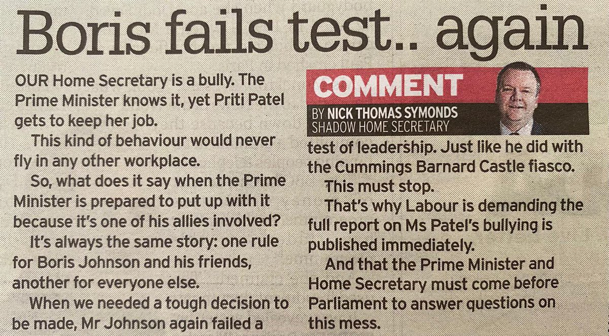 An independent report finds the Home Secretary bullied her public servants, and the Prime Minister just brushed it aside. My piece for @TheSundayMirror: it's one rule for Boris Johnson and his friends, another for everyone else.