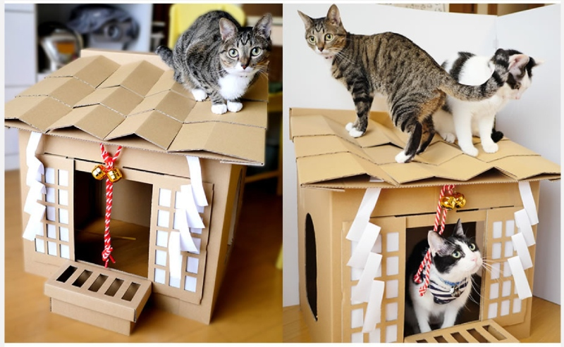 200RT 愛猫が猫神様に! プロ設計士がダンボール製の「ネコ神社ハウス」開発 クラウドファンディングで支援受付中