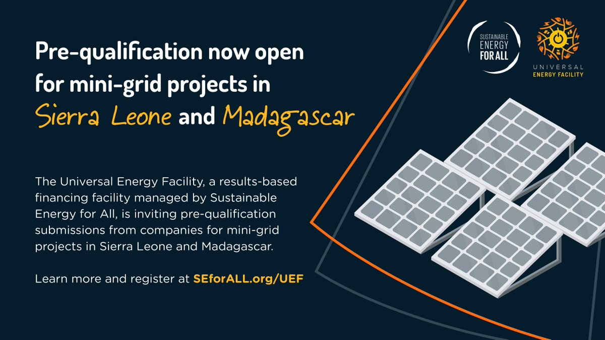 #ICYMI⚡#SEforALL @RockefellerFdn @ShellFoundation @PowerAfricaUS @GoodEnergies @FCDOGovUK @thecarbontrust @AfricaMDA have opened the Universal Energy Facility in response to growing🔺demands for results-based financing in the #EnergyAccess sector:  #SDG7