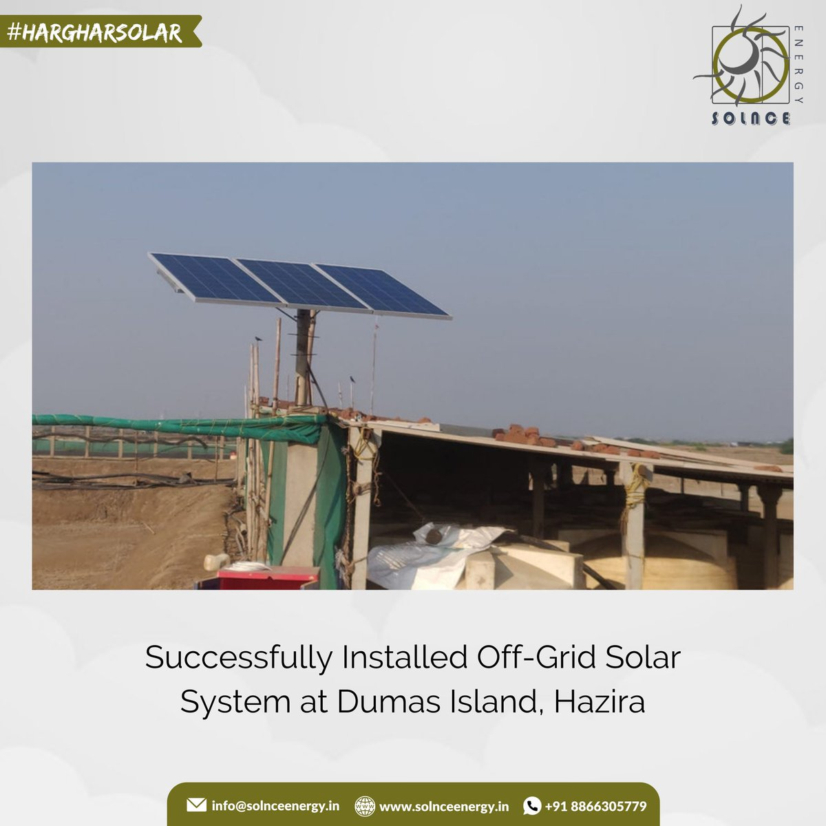 Successfully Installed Off-Grid Solar System at Dumas Island 🏝️  #gogreen #gosolar #offgrid #offgridsolar #solarrooftop #solarpower #solarpanels #solaredge #renewableenergy #energyiseverything #energy #dumas #clientdiaries #solarbattery #luminous #solarproject #clientproject