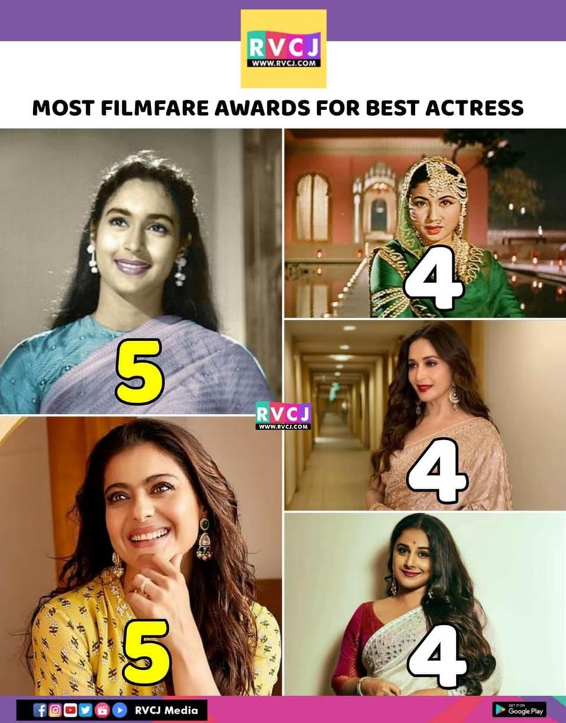 Most no. of filmfare awards for bollywood actresses.. 👍 #nutan @itsKajolD #meenakumari @MadhuriDixit @vidya_balan  #kajol #madhuridixit #vidyabalan #bollywood #bollywoodactress #bollywoodactresses #filmfare #awards #rvcjmovies