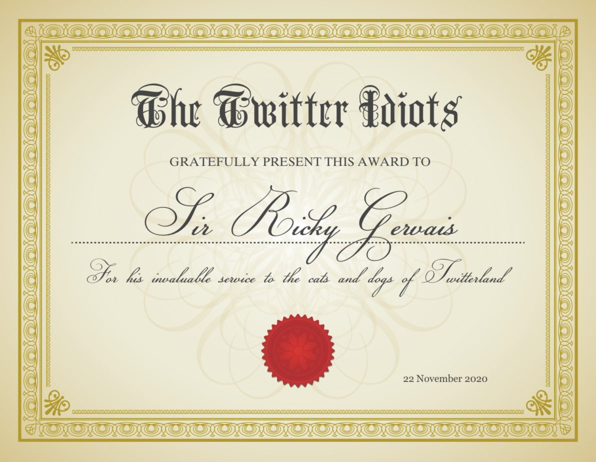 Afternoon @rickygervais, here's a special certificate of appreciation I made as a thanks for helping us to laugh our way through two lockdowns and for always answering my questions 🙏🏼🐾 #ThankYouSirRicky   Also here's my question for today's #rickysbollocks, see you @ 6 😊
