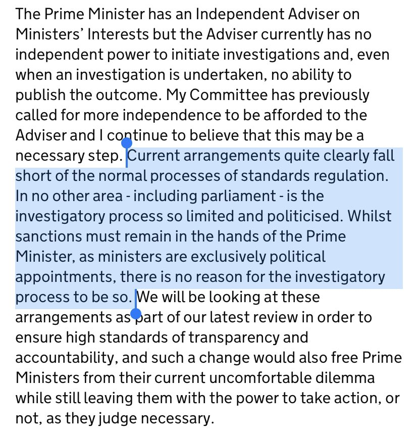 Must-read lecture where Lord Evans, chair of cmme on standard in public life, asks if it is time to reform way ministerial code investigations are handled - even if PM (who appoints ministers) remains in charge of sanctions - or not, case may be. gov.uk/government/spe…