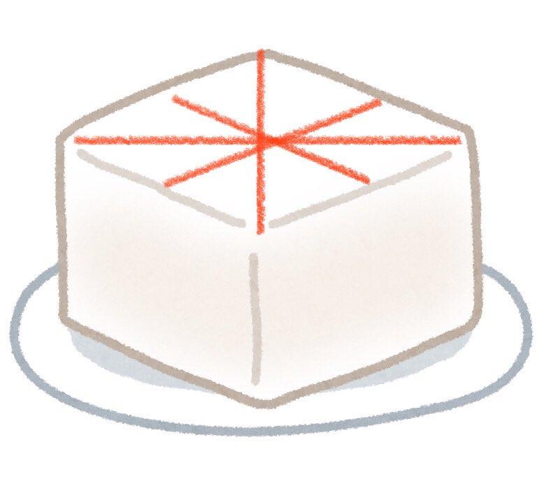 昨日義実家で教えてもらったけど、鍋とかの具のきぬ豆腐、三角形に切ると、箸で取る時全然崩れなくてびっくり。めちゃくちゃ安定して取れる。今まで豆腐と格闘してた時間を返して欲しいわ。(↓こういう感じに切る)
