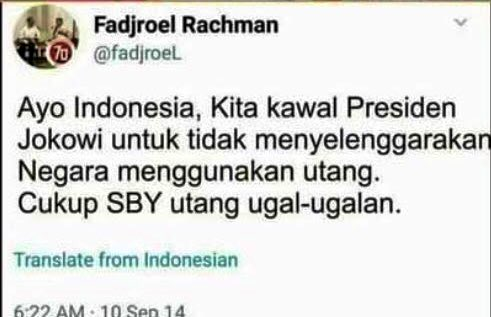 Kalau orangnya masih ada, tolong ditanyakan apakah dia berhasil kawal Pak Jokowi untuk tidak utang? Soalnya saya diblok. Terima kasih. https://t.co/blvNkyJ1ms