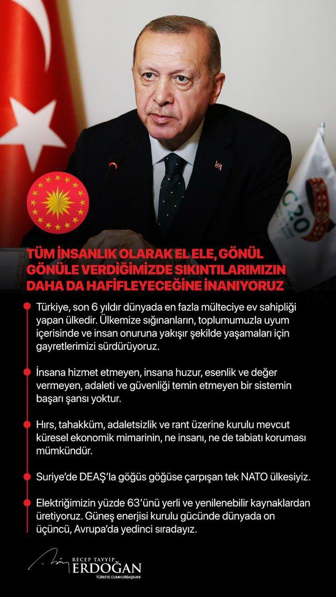 """Cumhurbaşkanı @RTErdogan: """"Tüm insanlık olarak el ele, gönül gönüle verdiğimizde sıkıntılarımızın daha da hafifleyeceğine inanıyoruz."""""""