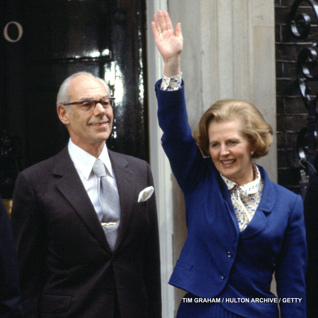 Margaret Thatcher and her husband Denis at 10 Downing Street in May 1979 shortly after her appointment as the United Kingdoms first female Prime Minister.