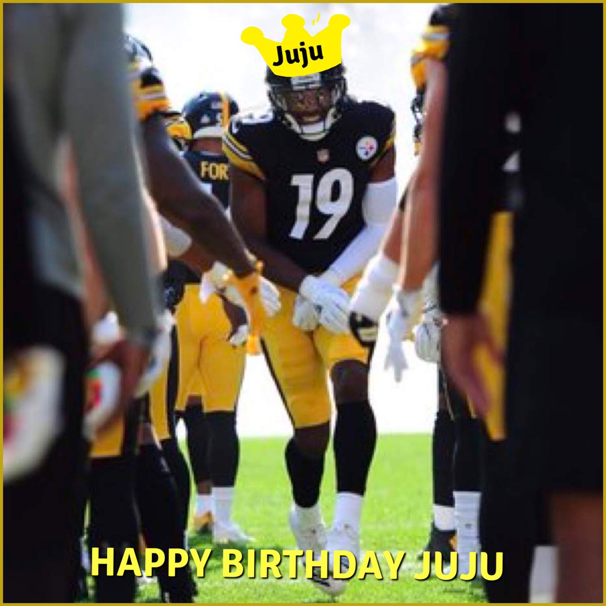 Happy Birthday, young King! 🤴🏾 give yourSELF a present today 😆 Get that WIN 💯 .@TeamJuJu Steelers #JujuSmithSchuster #HereWeGo  #Steelers