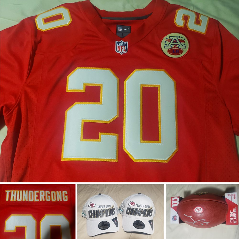 LAST DAY TO ENTER OUR RAFFLE!  And a perfect Sunday to try for our two #ChiefsKingdom  packages! Win a custom #Thundergong Chiefs Jersey, autographed Frank Clark football and two Super Bowl Champions hats or a framed Patrick Mahomes banner!  Enter now at