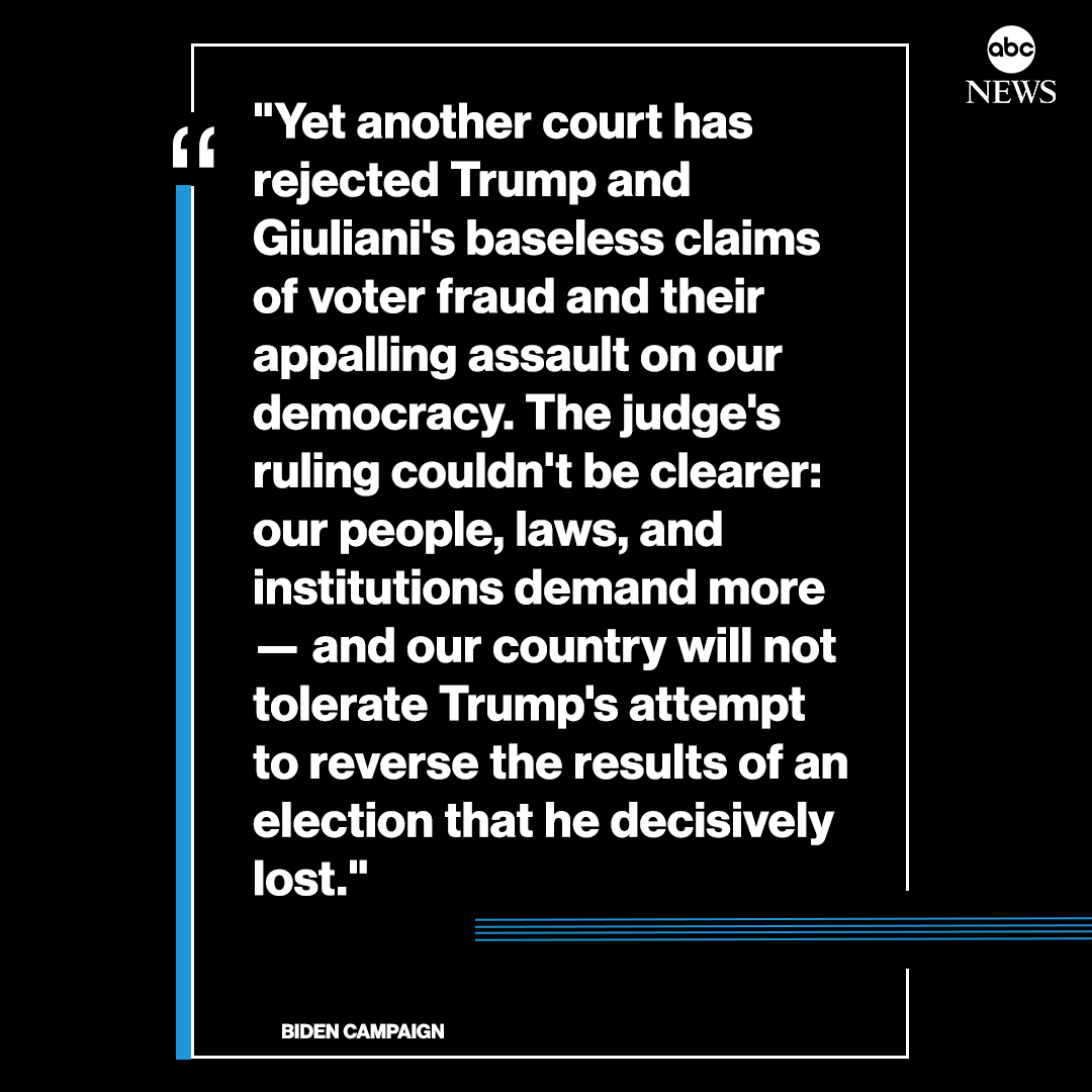The Biden campaign released a statement after a federal judge dismissed the Trump campaign's Pennsylvania lawsuit with prejudice, saying it lacks factual proof.