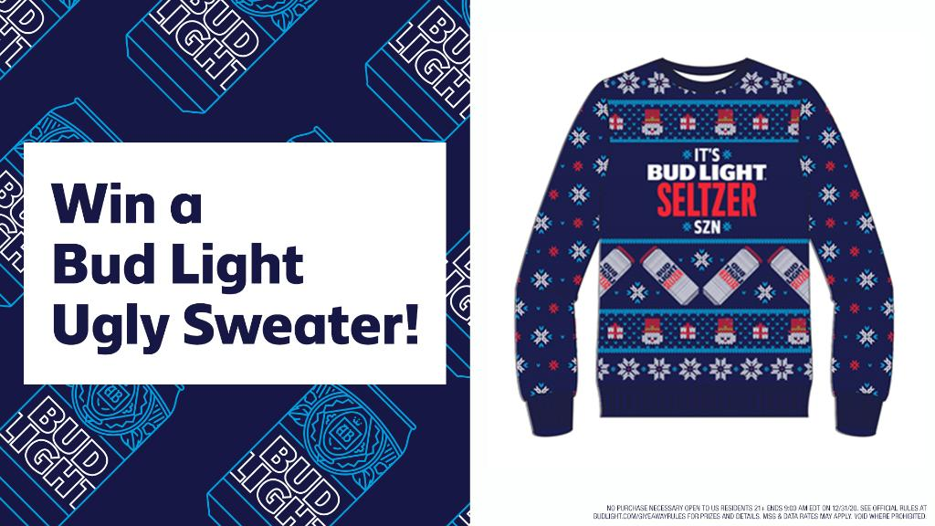 BudLight - Be the star of Thanksgiving with the Bud Light Seltzer Ugly Sweater.   RT this post and follow Bud Light for your chance to win.