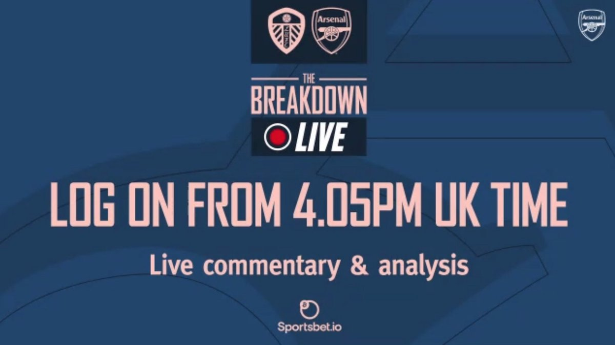 Great to be back on The Breakdown Live this afternoon!  Join us on @Arsenal website & app. We are about to go live...   Loads of pre-match build up, live comms, HT & FT analysis.   Me, @NickBrightDJ , Dan Roebuck & @davehillierr on duty.   Starting XI looks exciting 🤞🏻