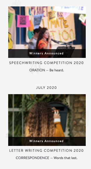 Do your young writers like recognition & readers? Ours do! Here's some of the competitions we've run this year:  Oct: Speechwriting Sept: Historical Fiction Aug: Flash Fiction July: Letter Writing June: Food Writing May: Playwriting #NCTE20  Sign up to learn more. (It's free!)