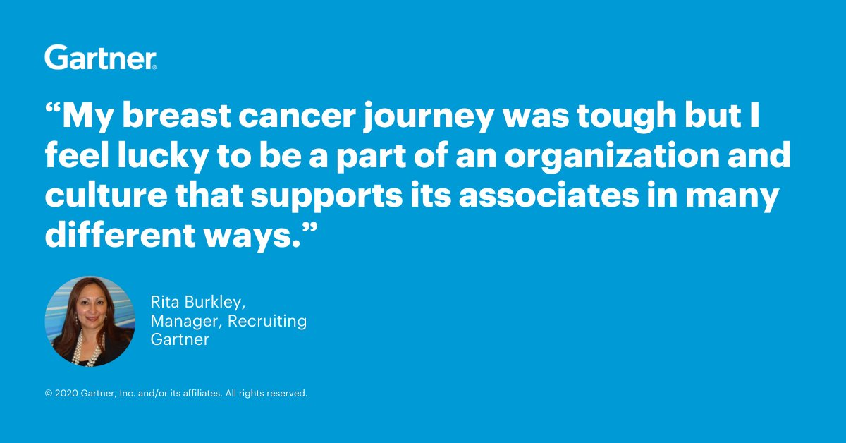 "RT Gartner_inc ""RT @Gartner_Careers: Recently, #Gartner associates were able to participate in several #virtual events for #BreastCancerAwarenessMonth. Associates heard from Gartner's Rita Burkley, who shared about her own battle with breast cancer. … """
