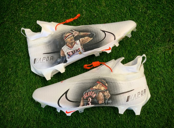 Jarvis Landry put AI on his cleats as he gets ready to face Philly 🔥 @God_Son80 @Browns   (via @MACHE275)