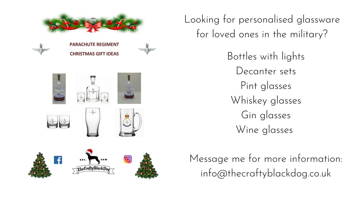 Give the gift of #personalisedglassware to your loved ones in the #military this year.  #parachuteregiment #BritishArmy #armedforces #christmasgifts #thecraftyblackdog: