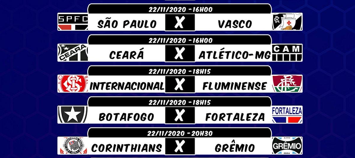 Jogos de Hoje no #CartolaFC  ⏰: 16h00 ⚽: São Paulo X Vasco ⚽: Ceará X Atlético-MG  ⏰: 18h15 ⚽: Internacional X Fluminense ⚽: Botafogo X Fortaleza  ⏰: 20h30 ⚽: Corinthians X Grêmio  Cobertura Completa aqui no @Cartola_Mitando!!! Ative as notificações e vamos juntos! 🔔 https://t.co/krFh4zgm4E