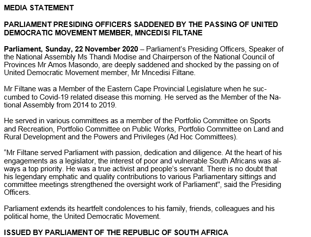 PARLIAMENT PRESIDING OFFICERS SADDENED BY THE PASSING OF UNITED DEMOCRATIC MOVEMENT MEMBER, MNCEDISI FILTANE https://t.co/ncaXTntqIk