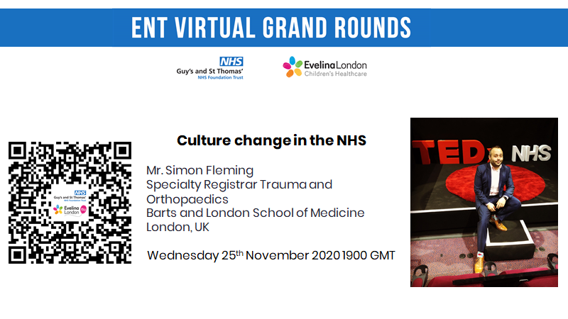 In the spirit of #AntiBullyingWeek, our next grand round session is on culture change in the #NHS by @OrthopodReg on 25 Nov at 1900 GMT.  Please register below for joining details:   @NHSEngland @socialmediaAOT @RainbowNHSBadge @theQCommunity @ENT_AudsNews