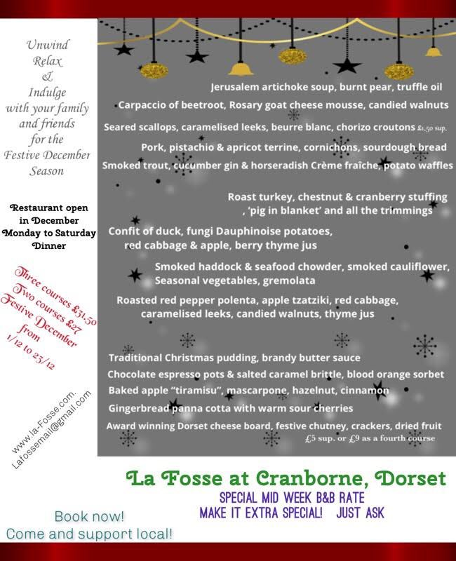 Book your table now for Festive December! PM or email us lafossemail@gmail.com
