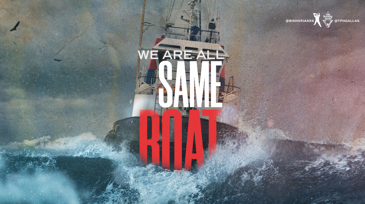 """Thank you for joining us online today! Be sure to watch the rebroadcast of """"We Are All In The Same Boat! TONIGHT at YouTube.com/TDJakesOfficial or via the T.D. Jakes Mobile App! #AllInTheSameBoat #SundayService #TPHDallas"""