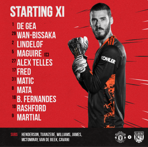 CONFIRMED: Manchester United Starting XI vs West Bromwich Albion https://t.co/GiwJ7BGUeg #UnitedArmy #MUFCFamily #MUFC https://t.co/Iva6l3tlvk