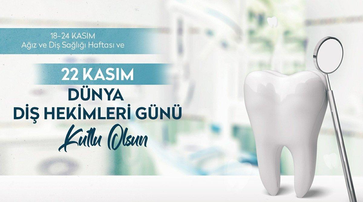Gülüşümüze sağlık katan, ağız ve diş sağlığı bilincinin oluşturulması ve iyileştirilmesi için çalışan tüm diş hekimlerimizin 18-24 Kasım Ağız ve Diş Sağlığı Haftası'nı ve 22 Kasım Diş Hekimleri Günü'nü kutluyorum.  #DişHekimleriGünü https://t.co/H5AtjOrxT1