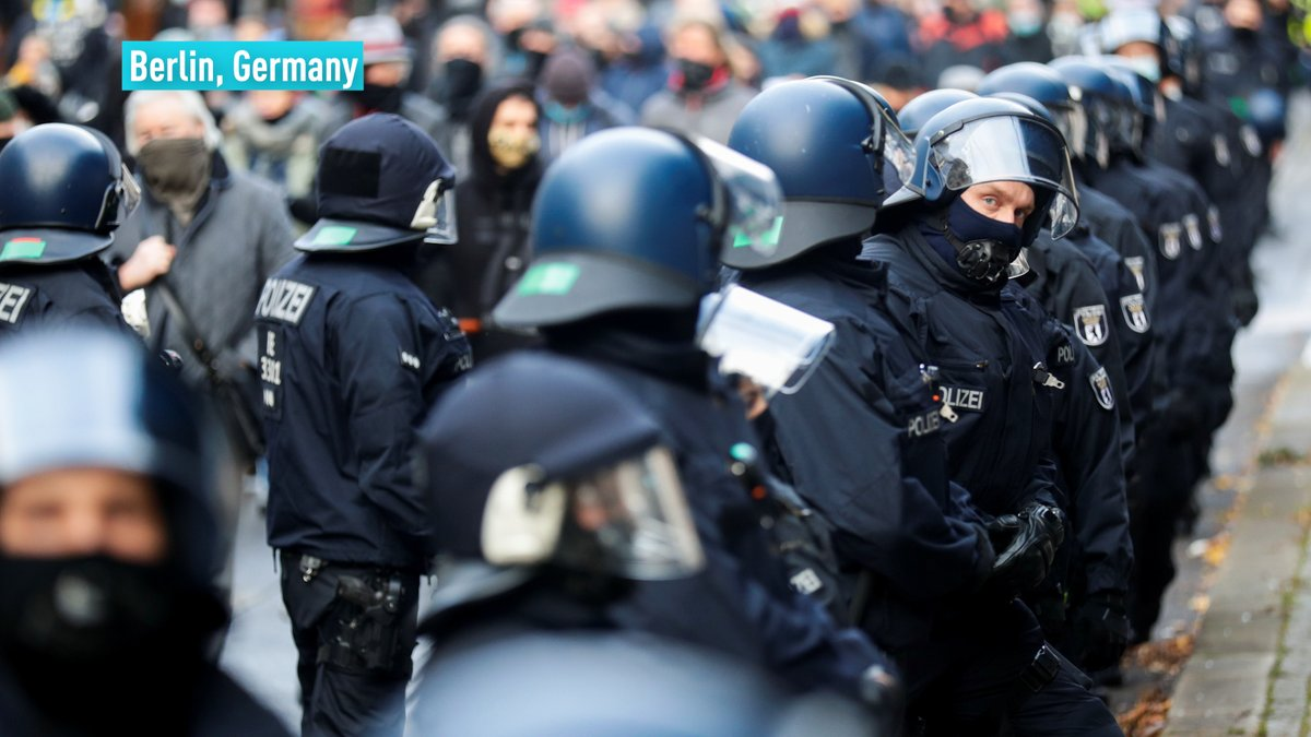 Thousands gathered in Berlin to protest regulations to combat the coronavirus, which include obligatory face masks and social distancing. Germany has confirmed over 929,000 confirmed cases of the virus since the pandemic began, according to Johns Hopkins University.