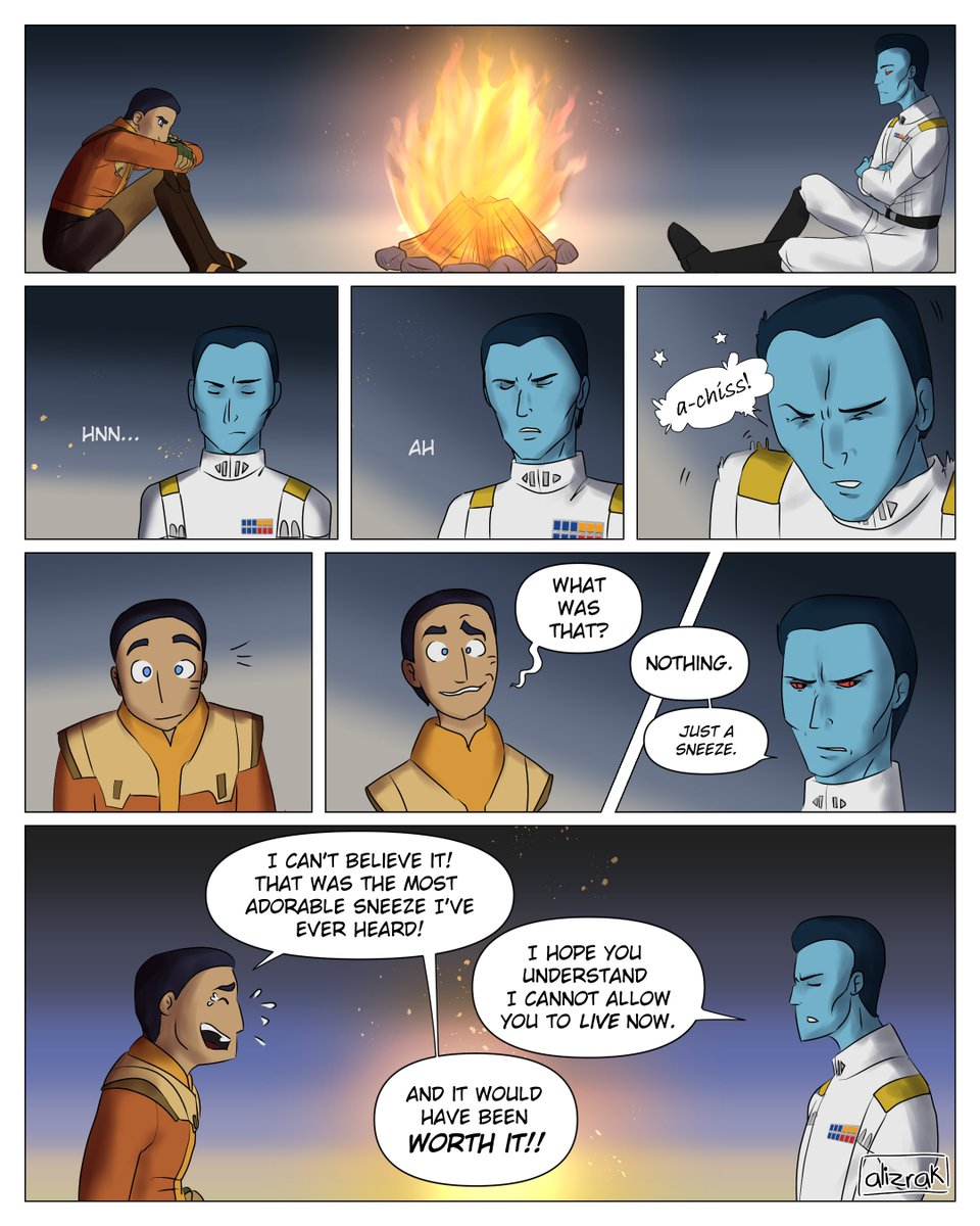 "The Thrawn discord chat said he would sound like ""a-chiss"" and I couldn't help but make it into a comic. Enjoy! 🤣💙✨  #StarWars #StarWarsRebels #EzraBridger #Thrawn #WheresEzra #SurvivalAdventures #CLIPSTUDIOPAINT #Comic"