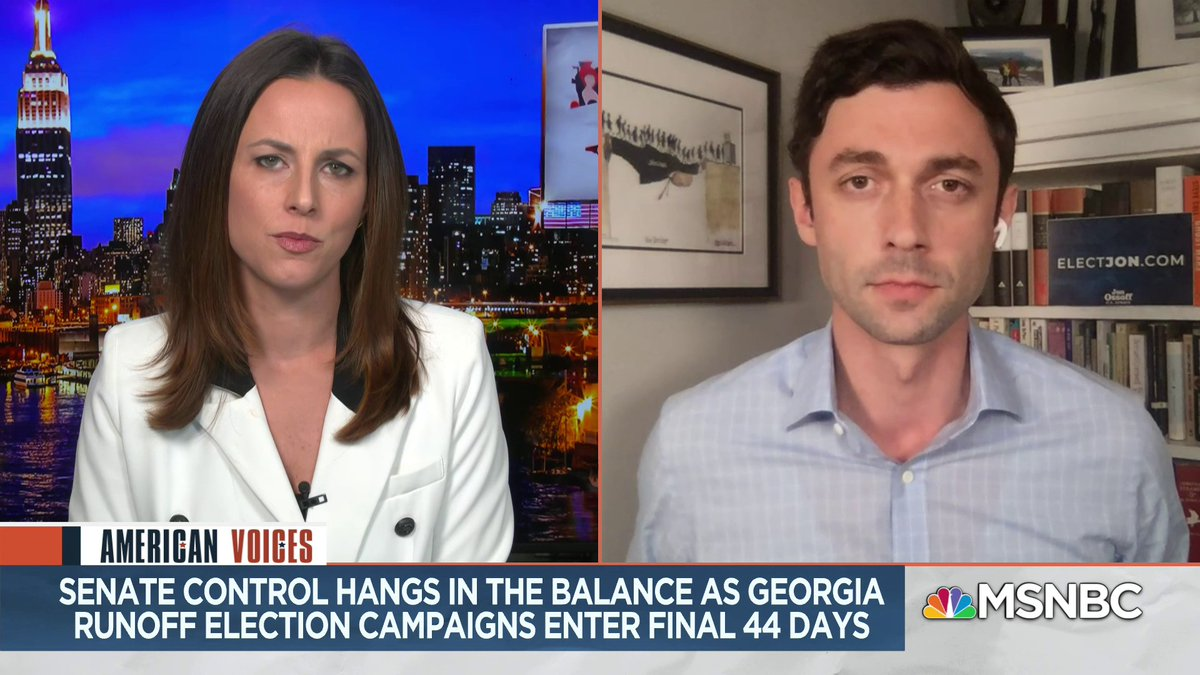 Black voters are the heart and soul of the Democratic electorate here in Georgia; they cannot be taken for granted. GA Senate candidate @ossoff stresses the importance of a new Voting Rights Act and Civil Rights Act to @AliciaMenendez on #AmericanVoices.
