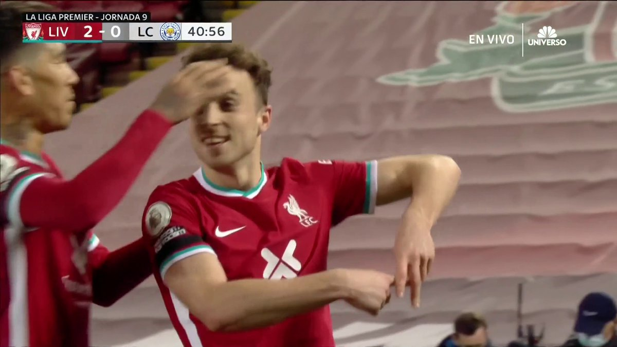 Diogo Jota's glancing touch against Leicester City 🔥  🎥: @TelemundoSports