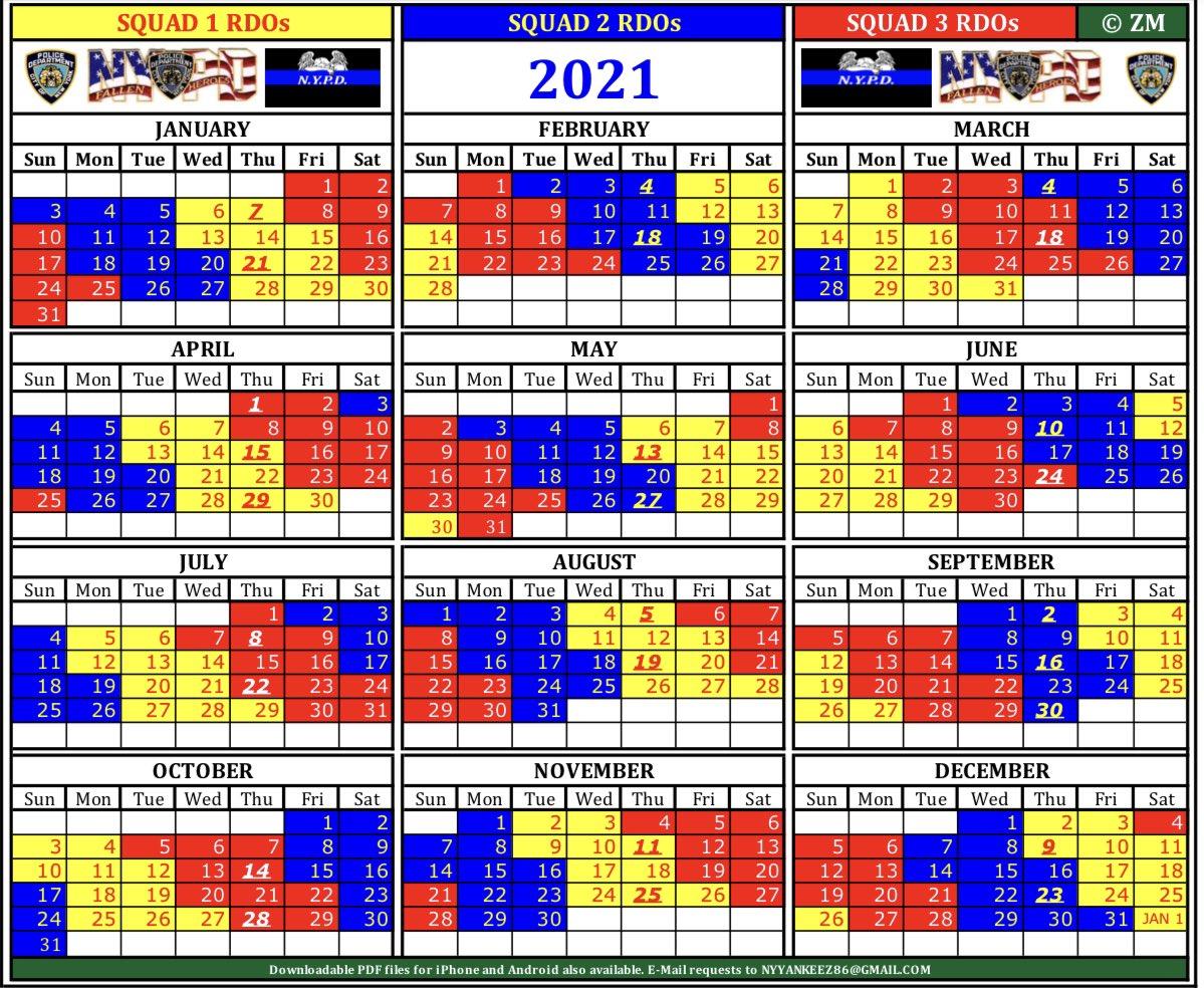 Rdo Calendar 2021 Nypd