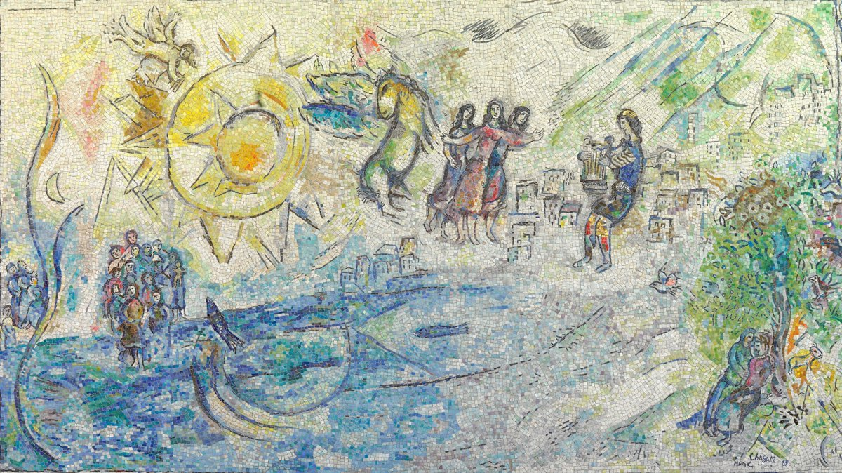 (1/2) 🔍Yet, an even closer look reveals a deep connection to the artist's personal experience.   According to Chagall, this scene also references his own past: smuggled out of Nazi-occupied France during World War II, the Jewish artist found safe haven in New York. https://t.co/EvXCltx0sc